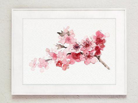 Peinture fleur de cerisier rose arbre branche en fleurs, aquarelle, jour de la mère graphique japonaise, peinture abstraite florale, décor de chambre de bébé   – 핸드페인팅