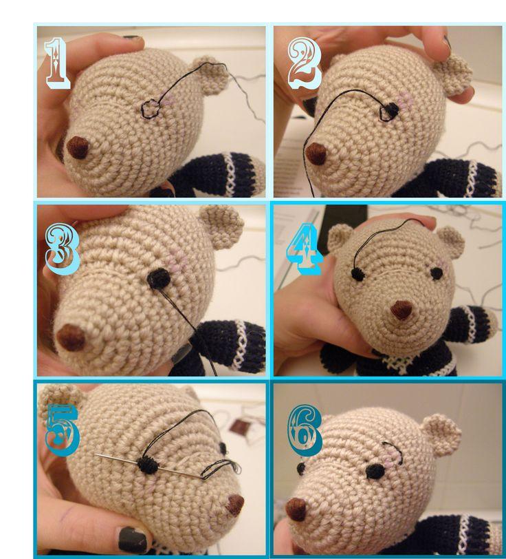 Instrucciones para bordar ojos en amigurumi