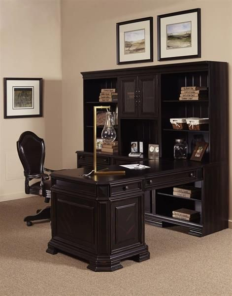 Lexington Traditional Brown Wood Office Furniture Set