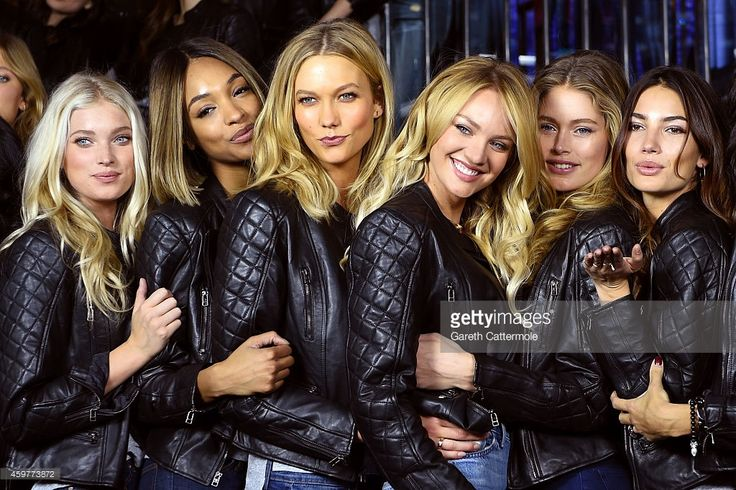 Victoria's Secret models Elsa Hosk, Jourdan Dunn, Karlie Kloss, Candice Swanepoel, Doutzen Kroes and Lily Aldridge attend the 2014 Victoria's Secret Fashion Show - Bond Street Media Event on December 1, 2014 in London, United Kingdom.