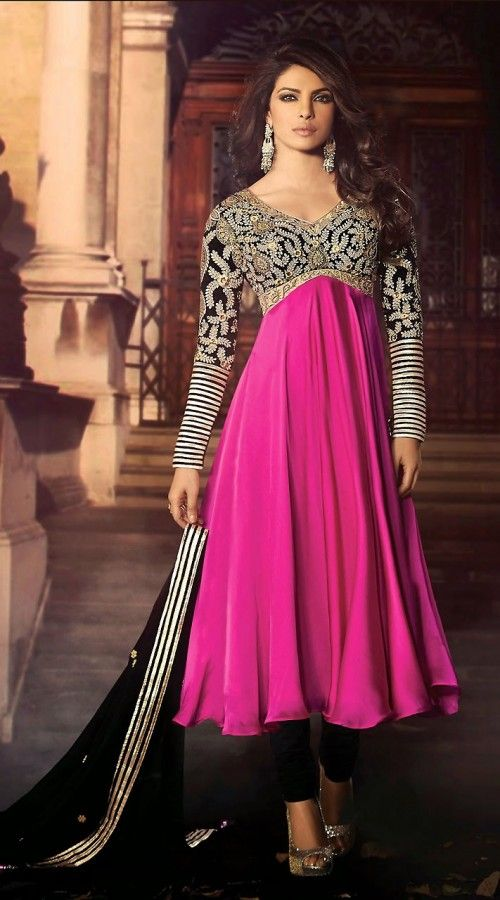 Priyanka Chopra In Purplish Magenta Bollywood Fashion Anarkali Suit BR502952