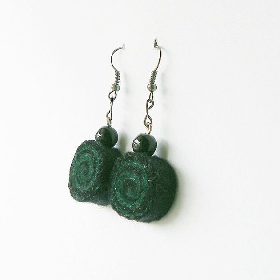 Earrings - unique felted rolls no 70, felt earrings, very light, dark green black earrings, unique pattern, goth, punk, metal earrings