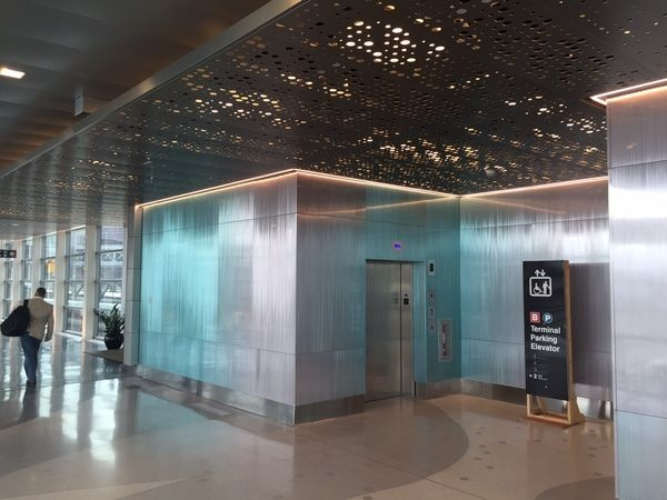 Moz Gradient Metal Walls for Massport project at Boston logan Airport designed by Arrowstreet