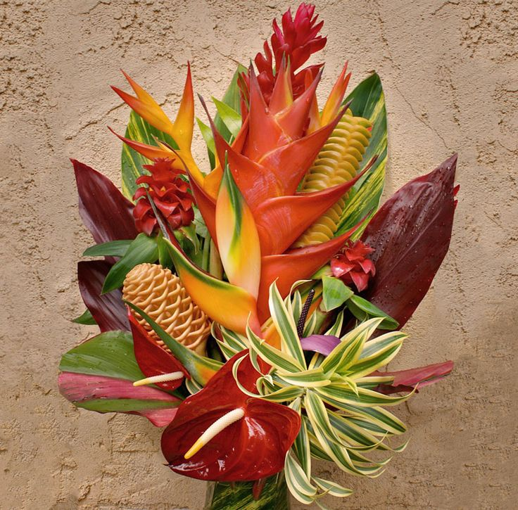 tropical flower arrangements | The Hanalei Tropical Flower Arrangement, Like a dramatic sunset over ...