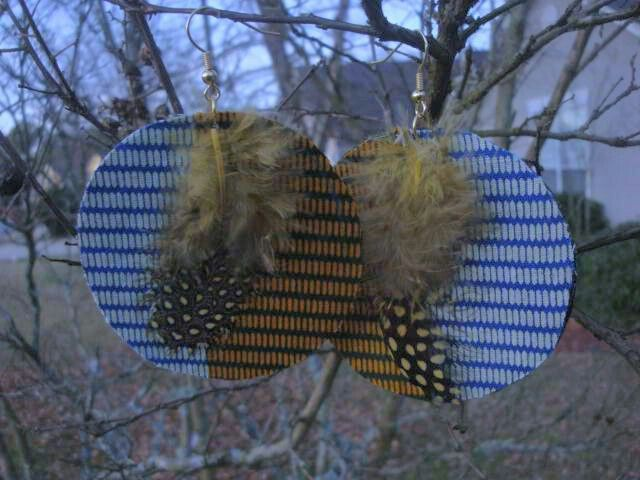 African print & feather earrings
