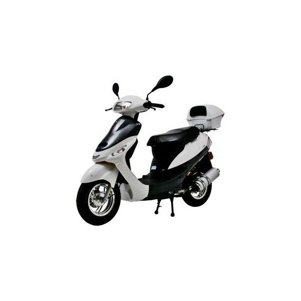 """50cc Moped Gas Motor Scooter / Free Front Windshield/10"""" Alloy Wheels ❤ liked on Polyvore featuring vehicles"""