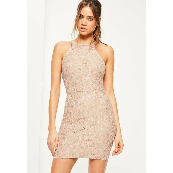 Missguided Nude Lace Square Neck Bodycon Dress ($50) ❤ liked on Polyvore featuring dresses, taupe, beige dress, mini dress, bodycon dress, body con dress and lace bodycon dress