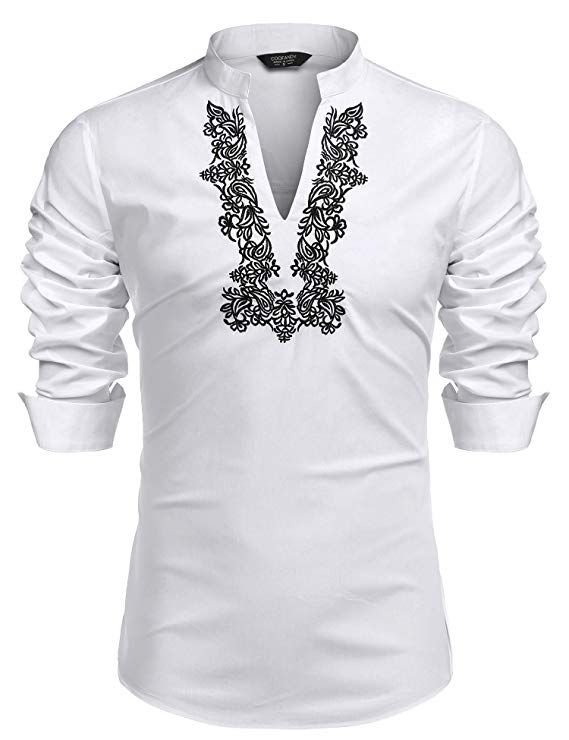 Men Casual V Neck Long Sleeve Hippie Shirts Henley Shirt T-Shirt Tops