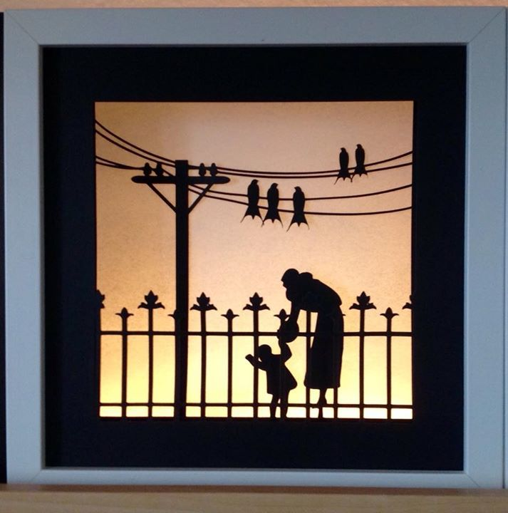 Mother and child shadow box made with my Silhouette Cameo