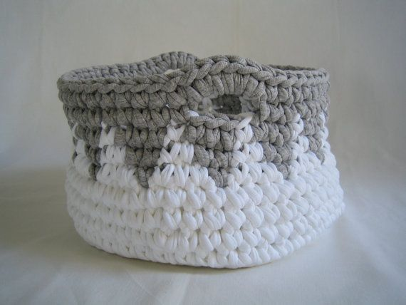Crochet basket large storage basket rag crochet basket by aiakoo