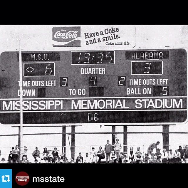 @msstate---#tbt to 1980 when @HailStateFB beat the then No.1 Bama, snapping their 28-game win streak. #HA1LSTATE #1 #football #cowbell #ms #mississippi #msstate #state #win #tbt #maroon #white #STATEPROUD #family #Bama #1980