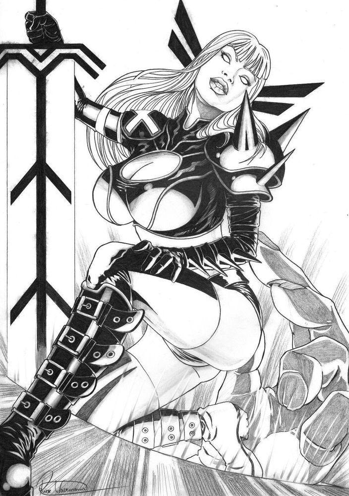 Magik by Rick Waekmann - Original Comic Art Drawing X-Men Marvel Illyana 11x17