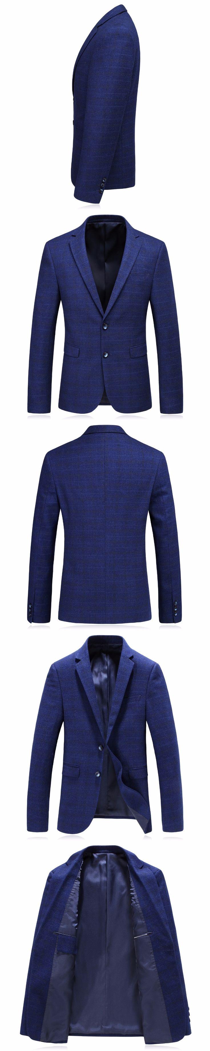 Blazer Men 2017 Luxury Blue Suit Blazer Male High Quality Stylish Autumn Jacket Mens Plaid Casual Coat Slim Fit Costume M-3XL