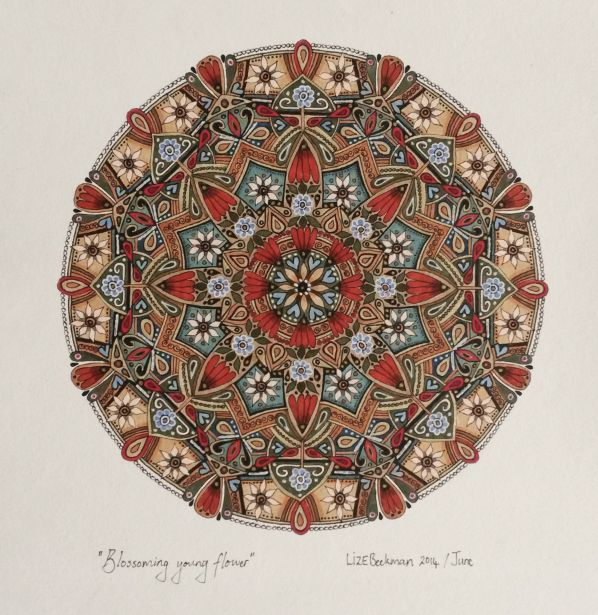 Tulbagh Spring Art festival 2014.  Saturday 13 September 2014 at Montpellier, Tulbagh. Lize Beekman Mandala art exhibition. A collection of Lize Beekman's most recent Mandala artworks will be exhibited at the beautiful Historical Boland Farm, Montpellier. The artworks will be for sale. Credit Card and EFT facilities wil be available for payments.
