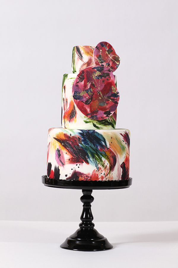 Merging two very important periods in the modern art era—Impressionism and Abstract Expressionism—Nadia designed this cake with the work of two significant artists in mind: Monet and Pollock. She combined Pollock's techniques of dripping and pouring paint with soft washes and sculptural elements representative of Monet's water lily paintings. | Nadia & Co.