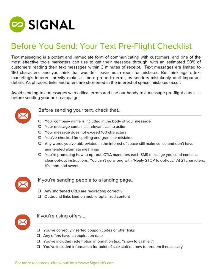 Before You Send: Text Marketing Pre-Flight Checklist #smsmarketing #textmessagemarketing #digitalmarketing #checklist #checklistmanifesto