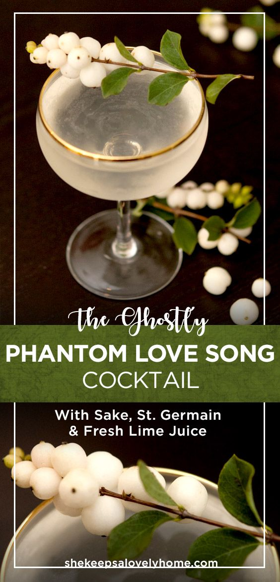 This eerily romantic Phantom Love Song is essentially a French Gimlet that's smoother, more delicate and perfect for an elegant Halloween party! #goth, #cocktails #beatutiful