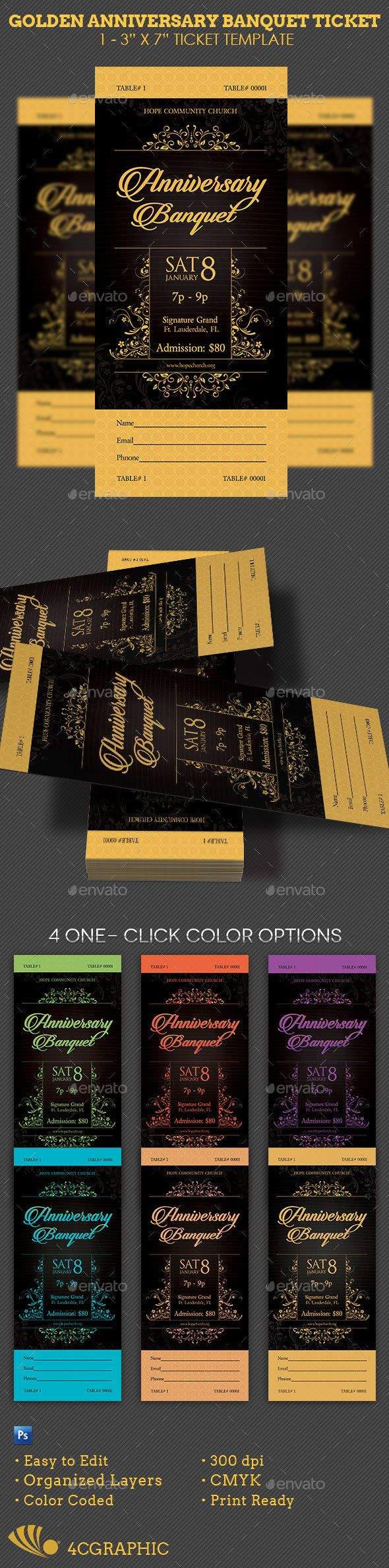 Golden Anniversary Banquet Ticket Template — Photoshop PSD #birthday #tea • Available here → https://graphicriver.net/item/golden-anniversary-banquet-ticket-template/16928326?ref=pxcr