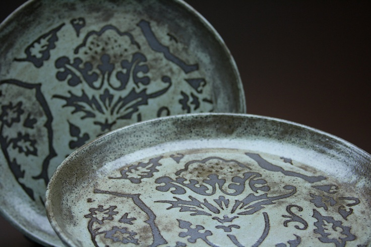 "Set of 2 Deep Dish Dinner Plates, 9.5"", Design: Flora, Rustic Blue/Gray/Green Glaze - MADE TO ORDER - Earliest ship date Jan 2 2013. $64.00, via Etsy."