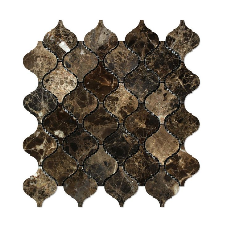 Emperador Dark Marble Polished Lantern Arabesque Mosaic Tile