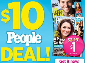 Wow! If you enjoy reading People magazine on a regular basis, you may be interested in snagging a subscription from Magazines.com for 75% off the cover price! Through June 5th, just head on over here to buy a 10 issues subscription to People magazine for only $10 (regularly $39.90!). That makes each issue only $1 [...]