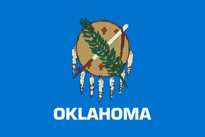The Oklahoma state flag honors more than 60 groups of Native Americans and their ancestors. The blue field comes from a flag carried by Choctaw soldiers during the civil war. The center shield is the battle shield of an Osage warrior. It is made of buffalo hide and decorated with eagle feathers. Two symbols of peace lie across the shield. One is the calumet, or peace pipe. The other is an olive branch. Crosses on the shield are Native American signs for stars, representing high ideals.