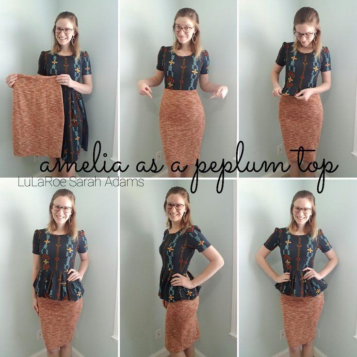 Try tucking a LuLaRoe Amelia dress into a Cassie skirt to create a Peplum top!