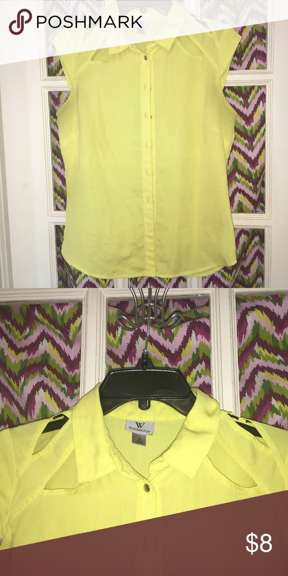 Worthington top with shoulder cut outs Worthington yellow short sleeve top with shoulder cutouts and silver buttons. Very cute for work and can be dressed up for drinks. VGUC Worthington Tops Button Down Shirts