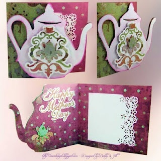 Mother's Day - or great birthday card.  Damask Decor cart.