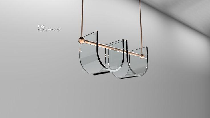 Kalıpla şeküllendirilmiş, u frmunda led aydınlatmalı sarkıt lamba.     Molded U form pendant lamp, with led.  #lighting #design #glass #saken #productdesign #lightingdesign #aydinlatma #tasarım #ürün #pendant #molded