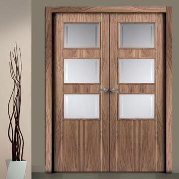 Sanrafael Lisa Glazed Double Door - L703GV Style Walnut Prefinished. #glazeddoors #internalwalnutglazeddoors #doubleglazeddoors