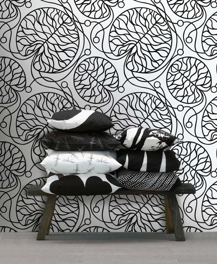 Marimekko Bottna wallpaper and assorted pillows