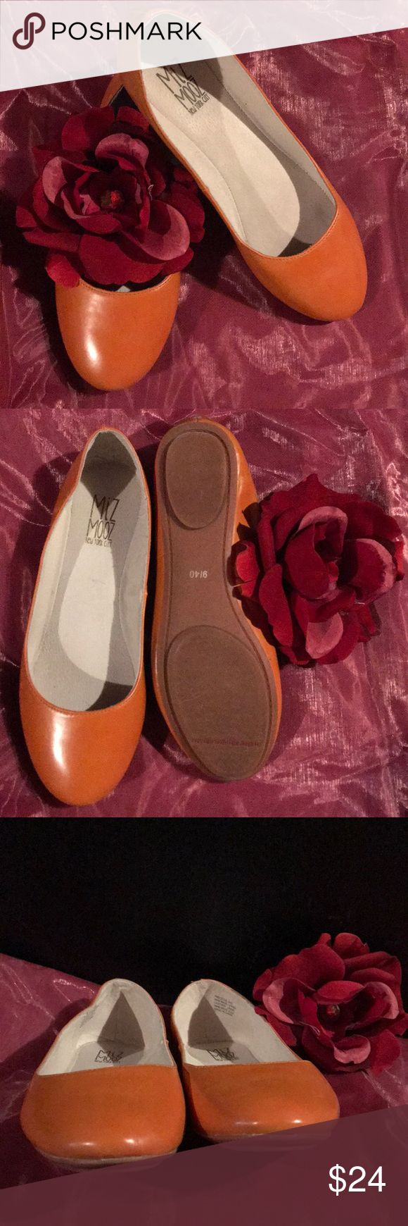 Miz Mooz ballet flats 9 Miz Mooz precious ballet flats from Stitch Fix.  Upper leather lining and man made some. Size 9 (40).  Gently worn, see photos for wear. Color: cognac/camel. Miz Mooz Shoes Flats & Loafers