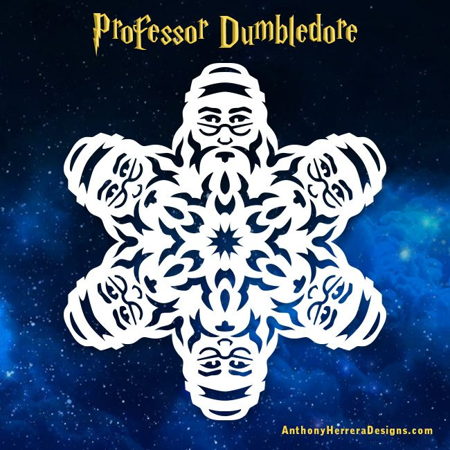 Professor Dumbledore • Harry Potter Snowflakes by Anthony Herrera http://www.anthonyherreradesigns.com/harry-potter/