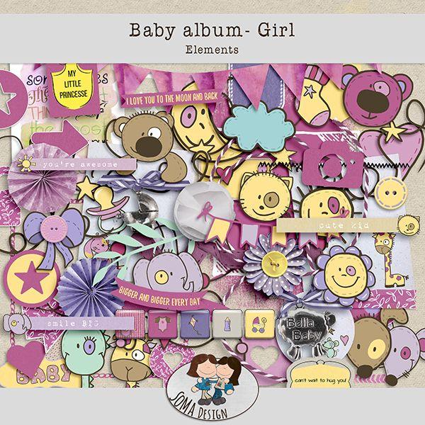 Oscraps.com :: Shop by Category :: All New :: SoMa Design: Baby album - Girl - Kit