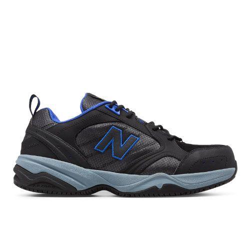 Steel Toe 627 Suede Men's Work Shoes - Black/Blue (MID627BB)