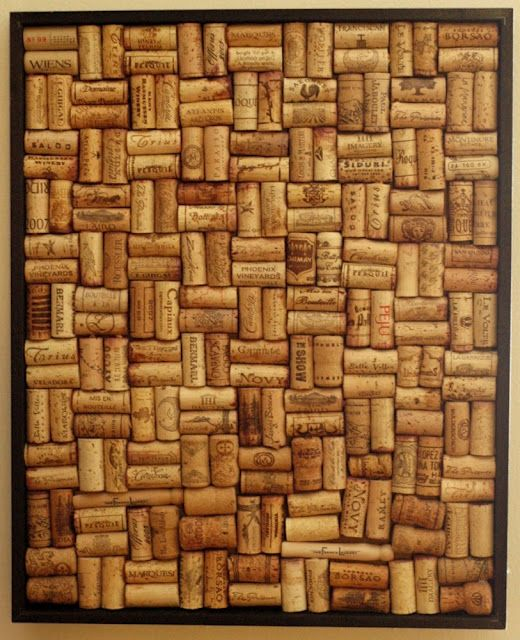 DIY bulletin/inspiration board made from wine corks - I use my cork board all the time for scraps of fabric and design sketches .. wish I had found this before I made it ..   :) Next time!