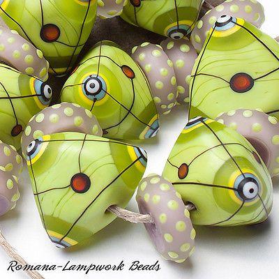 "Romana - Lampwork Beads - ""Triangles"""