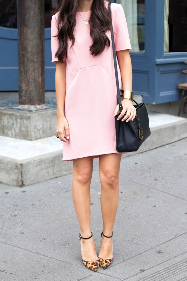 Whistles Pink Shift Dress & leopard heels | With Love From Kat