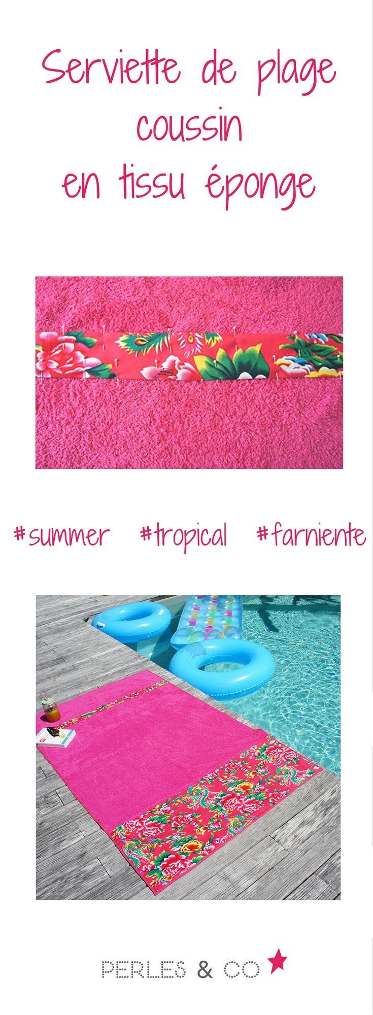 Retrouvez le tutoriel pour réaliser cette serviette de plage en tissu éponge qui se transforme en coussin une fois pliée. avec les bandes de tissu au motif tropical, vous serez pile dans la tendance sur la plage ou au bord de la piscine. Suivre le tutoriel pas à pas en cliquant sur le lien https://www.perlesandco.com/Serviette_de_Plage_Coussin_en_Tissu_eponge-s-2699-40.html