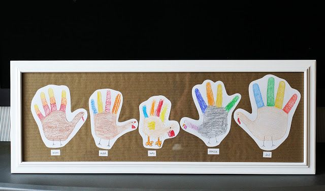 Hand print turkey family. Such a sweet Thanksgiving decoration to make with the family.