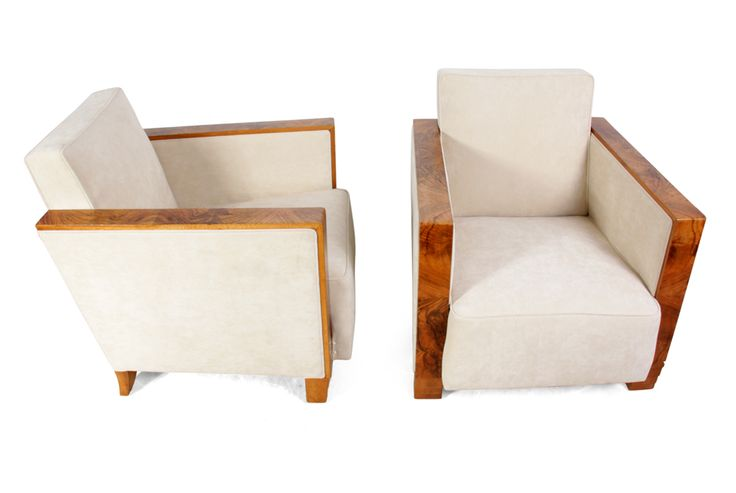 Art Deco Chairs Walnut Arms France c1920