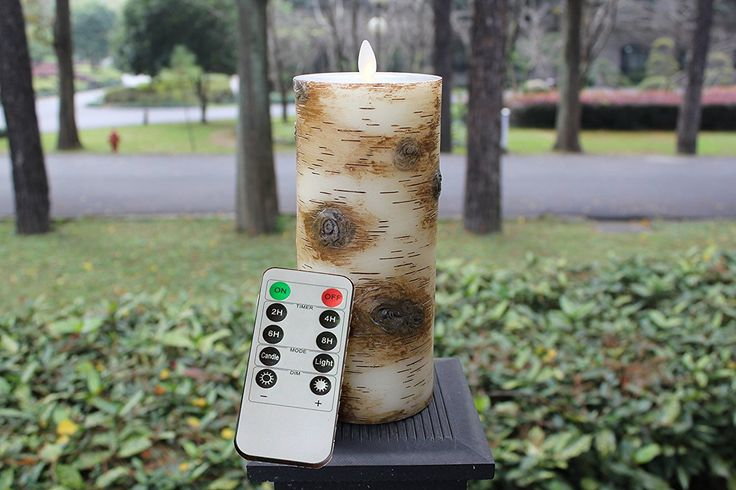 3.5 X 9 Inch Flat Top Moving Wick Pillar Birch Unscent Wax LED Flameless Candle with Remote and Timer
