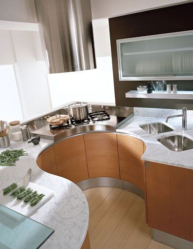 Architecturally and ergonomically designed curved kitchen