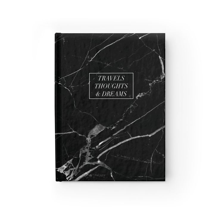 """""""Travels, Thoughts & Dreams"""" Black Marble Journal"""