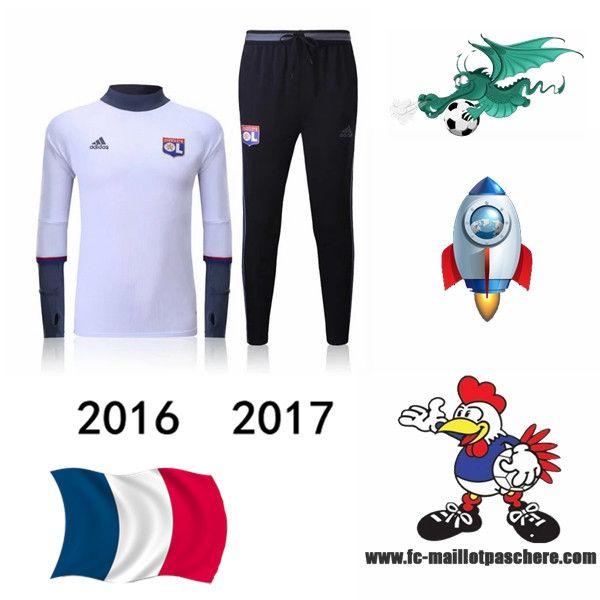 Vente Survetement Foot Lyon OL Blanc seson 16 17 Replica - Home
