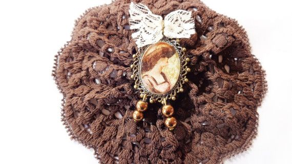 Vintage brooch decoupage brooch brown by ArtisticBreaths on Etsy