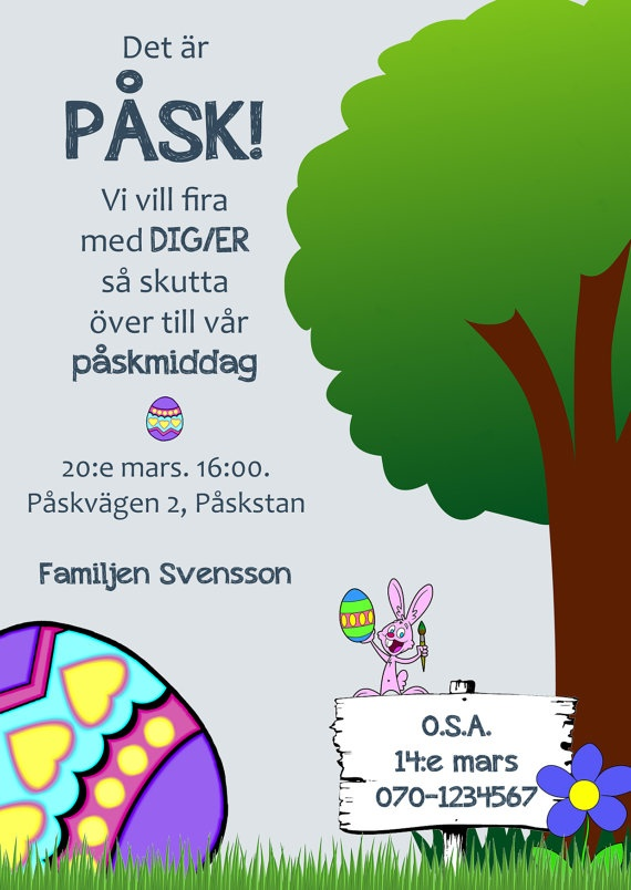 Printable easter invitation - now available in my Etsy shop! Available in both English and Swedish