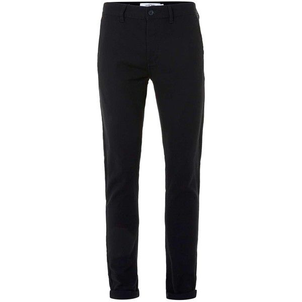 TOPMAN Black Twill Stretch Skinny Chinos (£30) ❤ liked on Polyvore featuring men's fashion, men's clothing, men's pants, men's casual pants, black, mens skinny chino pants, mens twill pants, mens skinny pants, mens stretch pants and mens chinos pants