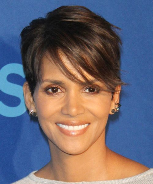 Halle Berry Hairstyle - Short Straight Casual. Try on this hairstyle and view styling steps! http://www.thehairstyler.com/hairstyles/casual/short/straight/Halle-Berry-short-side-parted-hairstyle